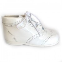 185-E Nens White Patent Lace up Brogue Boot