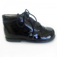 185-E Nens Navy Patent Lace up Brogue Boot