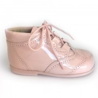 185-E Nens Pink Patent Lace up Brogue Boot