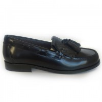 4970-P Nens Navy Leather Loafer with kilt tongue and tassels