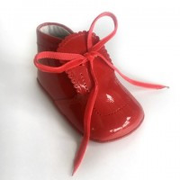 Patent Pram Boot with Velvet Laces and Scallop Tongue