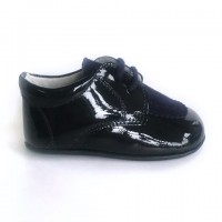 4064 Navy Patent and Suede lace up Pram Shoe