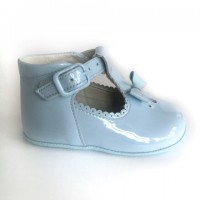 3249 Pale Blue Patent T-Bar Pram Shoe with Bow