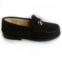 4413-CA Nens Brown Suede Loafer with Silver Bar