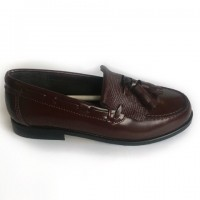 4970-P Nens Burgundy Leather Loafer with kilt tongue and tassels