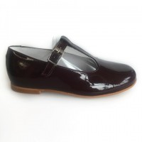 10120K Nens Burgundy Patent T-Bar Dolly Shoes