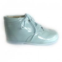 185-E Nens Pale Blue Patent Lace up Brogue Boot