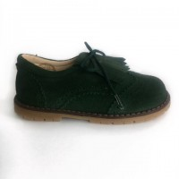 285-K Nens Green Suede Brogue with kilt tongue