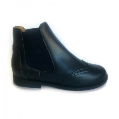 A-2644 Navy Leather Chelsea Boots