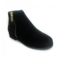 A-2834 Suede and Glitter Ankle Boot