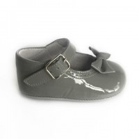 1529 Grey Patent Mary Jane Pram Shoe  with Bow