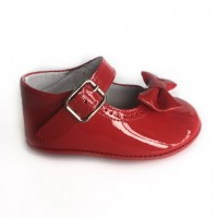 1529 Red Patent Mary Jane Pram Shoe  with Bow