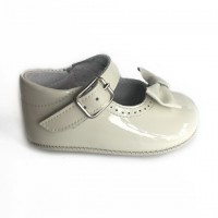 1529 Ivory Patent Mary Jane Pram Shoe  with Bow