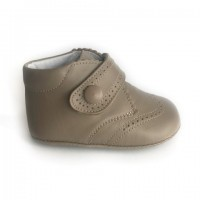 1495 Taupe Leather Brogue Pram Boot with Velcro Strap