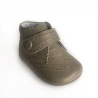 Leather Brogue Pram Boot with Velcro Strap