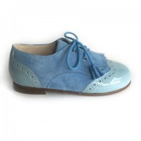 19289 Blue Suede and Patent Brogue with Kilt Tongue