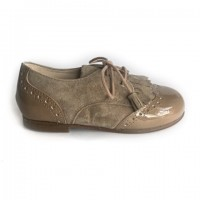 19289 Taupe Suede and Patent Brogue with Kilt Tongue