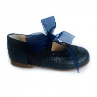 137221K Navy Leather & Suede Dolly Shoe with Brogue detailing and Ribbon Laces