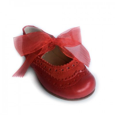 137221K Red Leather & Suede Dolly Shoe with Brogue detailing and Ribbon Laces