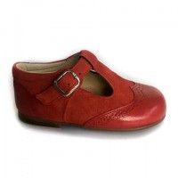 135101B Red Leather & Suede T-Bars