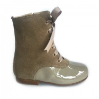 134192B Camel Patent & Suede Lace up Calf Boot with Ribbon Laces