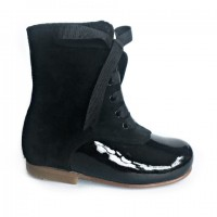 134192B Black Patent & Suede Lace up Calf Boot with Ribbon Laces