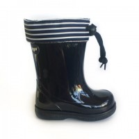 W10105 Igor Navy Striped Wellies