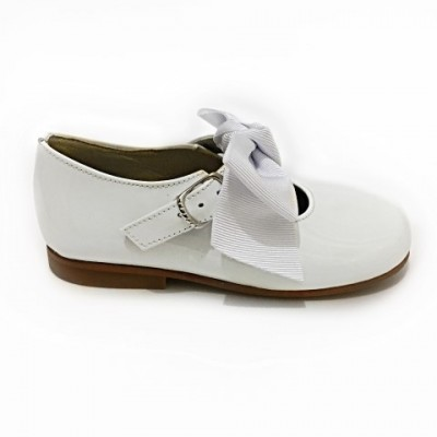4923 White Patent Bow Mary Jane