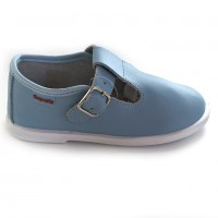 1520200 Xiquets Pale Blue Leather T-Bar Pumps