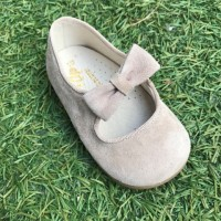 TI359 Taupe Suede Dolly Shoe with Bow