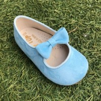 TI359 Blue Suede Dolly Shoe with Bow