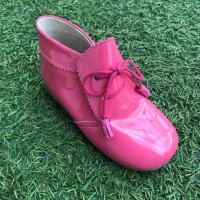 TI130 Fuscia Patent Tassel Lace up boot with Frill Edging