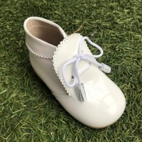 TI130 White Patent Tassel Lace up boot with Frill Edging