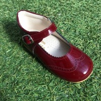 TI362 Burgundy Patent High Back Mary Janes with Broguing