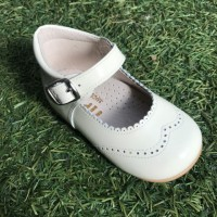 TI362 Beige Patent High Back Mary Janes with Broguing