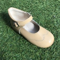 TI362 Camel Patent High Back Mary Janes with Broguing