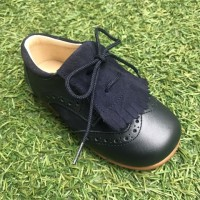 365606 Navy Leather & Suede Brogue with Suede Kilt Tongue