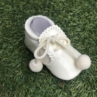 Ivory Patent Pom Pom Lace up Pram Boot with Scallop Tongue