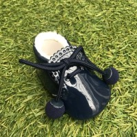Navy Patent Pom Pom Lace up Pram Boot with Scallop Tongue