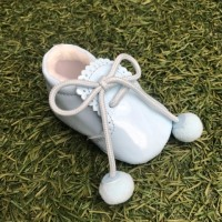 Pale Blue Patent Pom Pom Lace up Pram Boot with Scallop Tongue