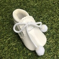 White Patent Pom Pom Lace up Pram Boot with Scallop Tongue