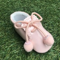 Pink Patent Pom Pom Lace up Pram Boot with Scallop Tongue