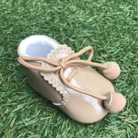 Camel Patent Pom Pom Lace up Pram Boot with Scallop Tongue