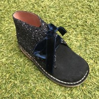Navy Suede and Glitter Desert Boots