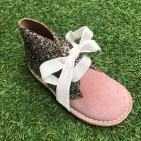 Pink Suede and Glitter Desert Boots