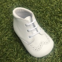 White Leather Brogue Lace up Pram Boot