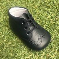 1639 Navy Leather Brogue Lace up Pram Boot