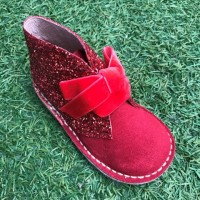 Red Suede and Glitter Desert Boots