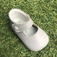 TI114 Grey Leather Mary Jane Pram Shoe