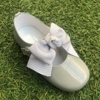4923 Grey Patent Bow Mary Jane